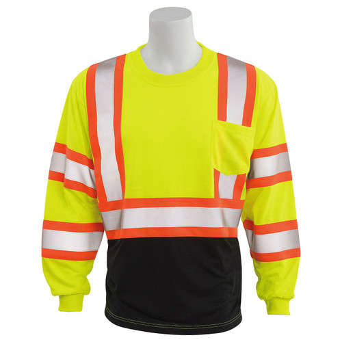 ERB Class 3 Hi Vis Lime Two-Tone Black Bottom Moisture Wicking Long Sleeve T-Shirt 9802SBC-L Front