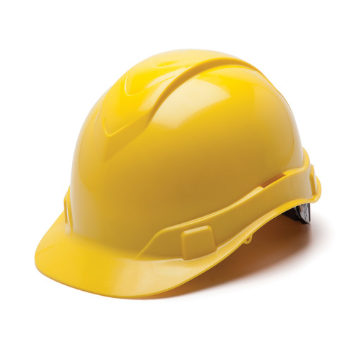 Box of 16 Pyramex Hi Vis Ridgeline Cap Style 6-Point Ratchet Hard Hats HP46130 Yellow Front Angled