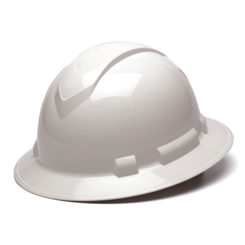 Box of 12 Pyramex Ridgeline Full Brim 4-Point Ratchet Hard Hats HP54110 White Front Angled