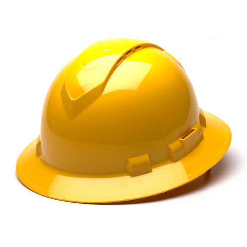 Box of 12 Pyramex Hi Vis Ridgeline Full Brim Vented 4-Point Ratchet Hard Hats HP54130V Yellow Front Angled