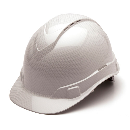 Box of 16 Pyramex Ridgeline Cap Style Vented 4-Point Ratchet Hydro Dipped Hard Hats HP44116SV Shiny White Front Angled
