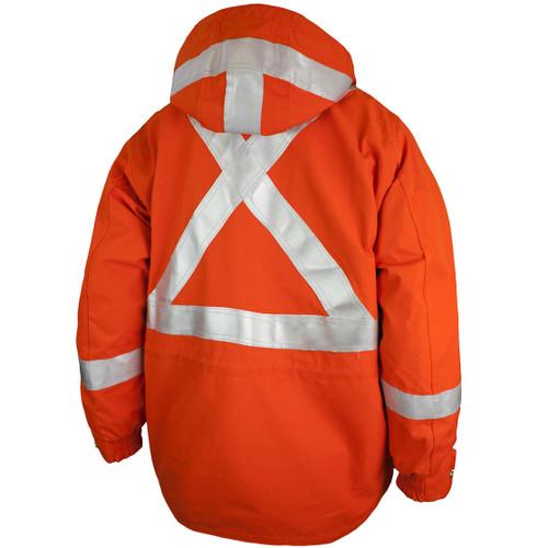 Tough Duck FR CSA Class 2 Hi Vis Orange X-Back Jacket FJBL01 Back