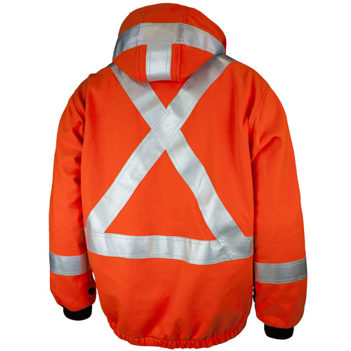 Tough Duck FR CSA Class 2 Hi Vis Orange X-Back Jacket Liner FJBL02 Back