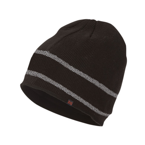 Tough Duck Acrylic Black Knit Cap with Reflective Stripes i45816
