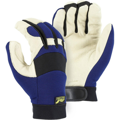 Majestic Box of 12 Pair Blue Waterproof Winter Lined Bald Eagle Mechanics Gloves 2152T