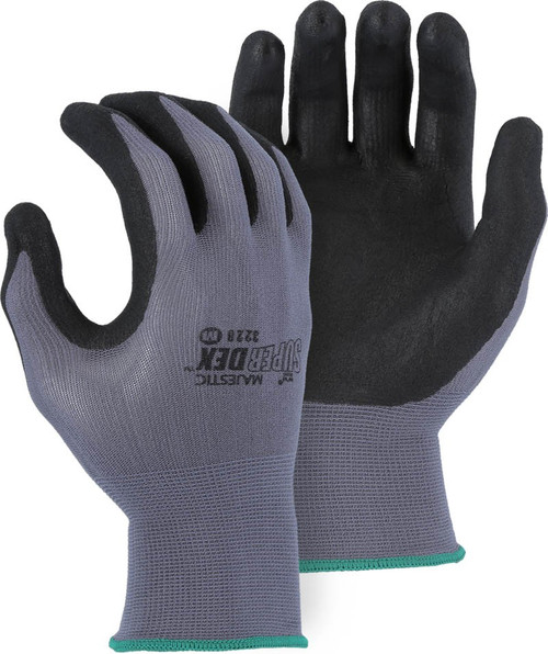 Box of 12 Pair Majestic SuperDex Micro Foam Nitrile Palm Coated Gloves 3228