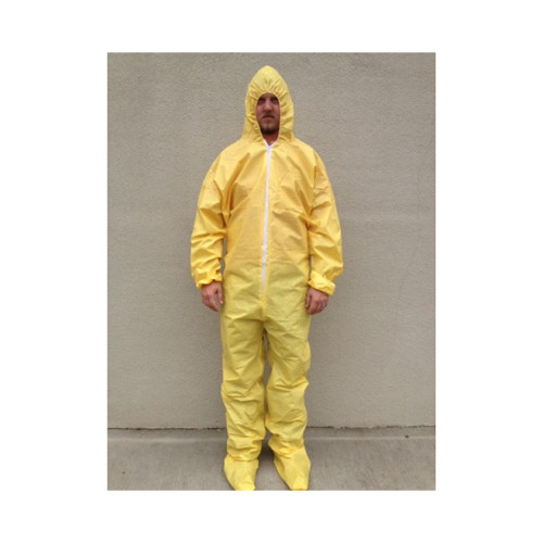 Case of 25 Sunrise SunShield Bound Seam Yellow Disposable Coveralls with Boot Cover S5414B
