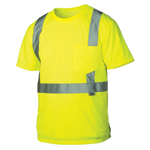 Pyramex Class 2 Hi Vis Lime Moisture Wicking T-Shirt with Chest Pocket RTS2110 Front