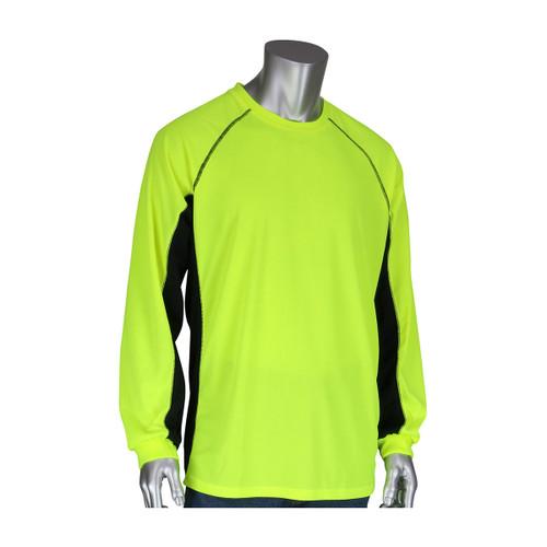 53e25d48 PIP Non-ANSI Hi Vis Moisture Wicking Long Sleeve T-Shirt with Black Sides