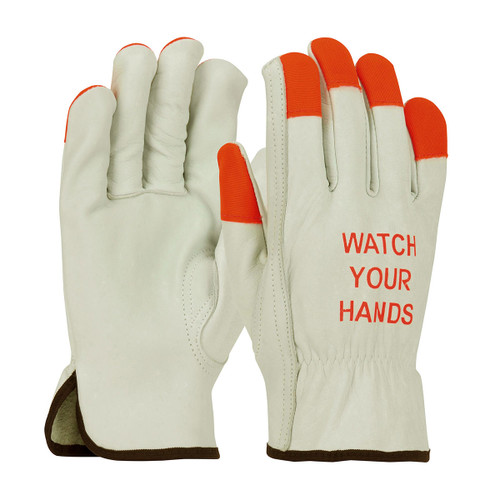 PIP Box 120 Pair Cowhide Leather Driver Gloves Hi-Vis Fingertips 68-165HV
