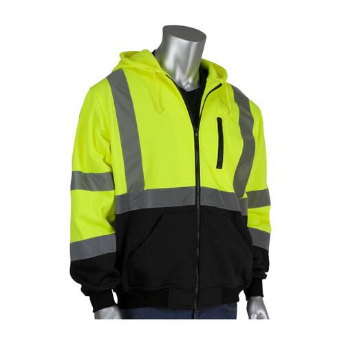 PIP Class 3 Hi Vis Full Zip Hooded Sweatshirt with Black Bottom 323-1370B Yellow Front