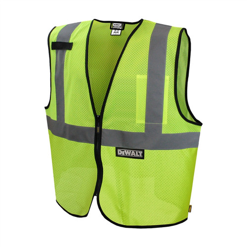 DeWALT Class 2 Hi Vis Green Economy Mesh Vest with Black Bottom Trim DSV220Front