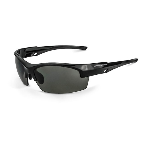 Crucible Shiny Black Frame Smoke Lens Glasses 4061