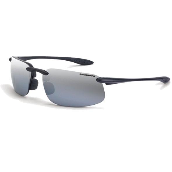 Crossfire ES4 Shiny Black Half-Frame Silver Mirror Lens Safety Sunglasses 2123 - Box of 12