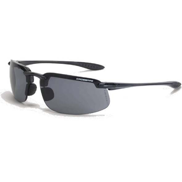 Crossfire ES4 Crystal Black Half-Frame Smoke Lens Safety Sunglasses 2141 - Box of 12