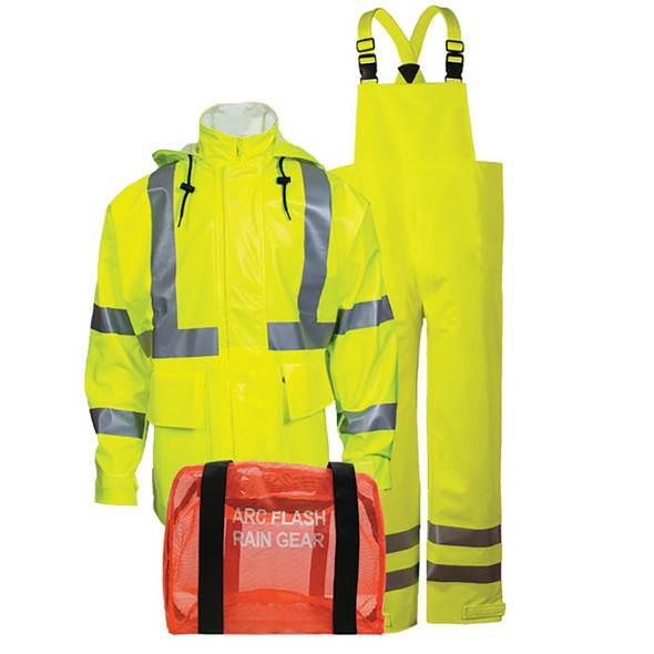 NSA FR Class 3 Hi Vis Yellow Arc H2O Made in USA Rain Suit KITRLC3