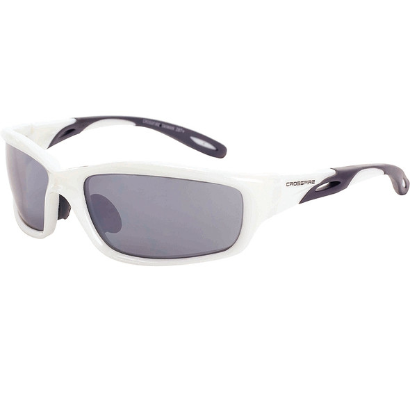Crossfire Infinity Pearl White Frame Silver Mirror Lens Safety Glasses 2243 - Box of 12