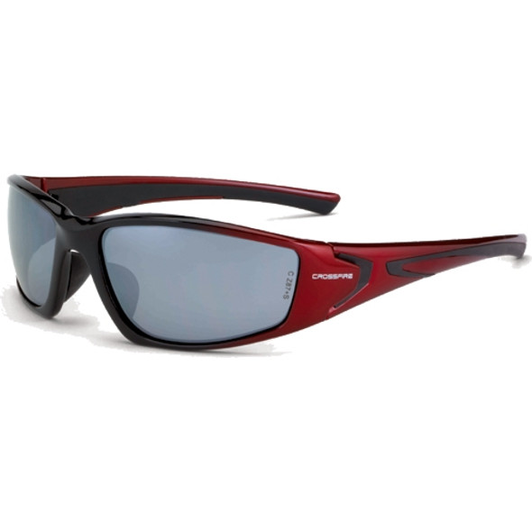 Crossfire RPG Shiny Black Pearl Red Frame Silver Mirror Lens Safety Glasses 23233 - Box of 12