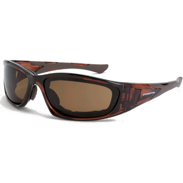 Crossfire MP7 Crystal Brown Frame Anti-Fog HD Brown Lens Safety Glasses 24116AF - Box of 12