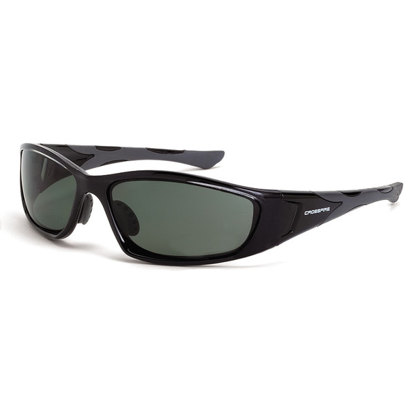 Crossfire MP7 Black Frame Foam Lined Blue-Green Polarized Safety Glasses 24426 - Box of 12