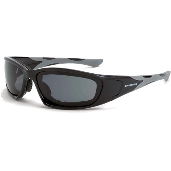 Crossfire MP7 Shiny Black Frame Anti-Fog Dark Smoke Lens Safety Glasses 2461AF - Box of 12