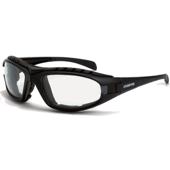 Crossfire Diamondback Foam Lined Matte Black Full Frame Clear Lens Safety Glasses 2724AF - Box of 12