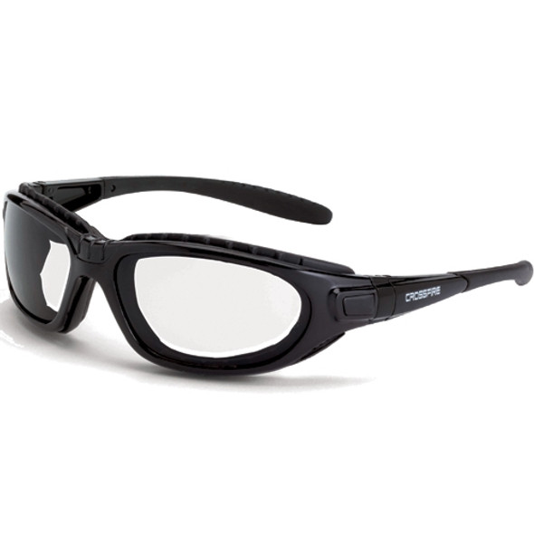 Crossfire Journey Foam Lined Crystal Black Full Frame Clear Lens Safety Glasses 2834AF - Box of 12