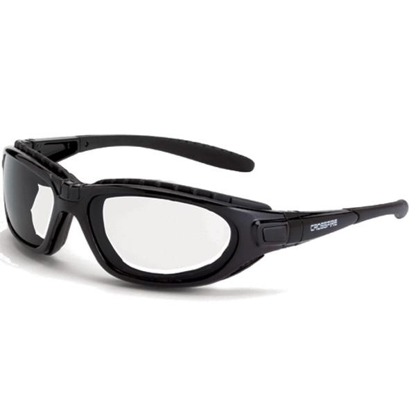 Crossfire Journey Foam Lined Crystal Black Full Frame Clear Lens Safety Glasses 2834AF - Box of 12