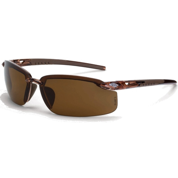 Crossfire ES5 Crystal Brown Half-Frame Polarized Lens Safety Sunglasses 291113 - Box of 12