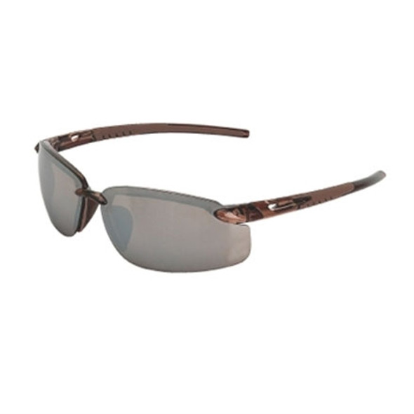 Crossfire ES5 29117 Crystal Brown Half-Frame HD Flash Mirror Lens Safety Glasses - Box of 12