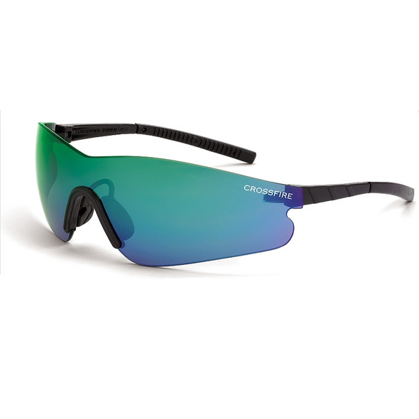 Crossfire Blade Black Frameless Emerald Mirror Lens Safety Glasses 30210 - Box of 12