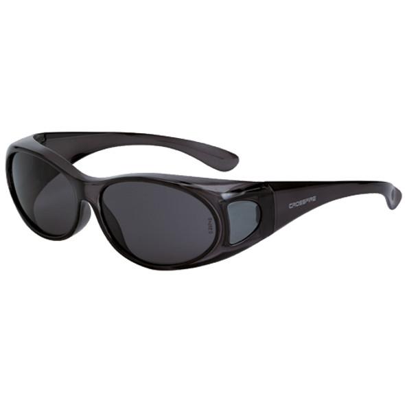 Crossfire OG3 Crystal Black Full Frame Smoke Lens OTG Safety Glasses 3113 - Box of 12