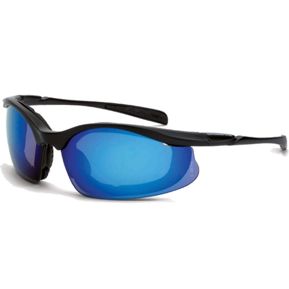 Crossfire Concept Matte Black Half-Frame Foam Lined Blue Mirror Lens Safety Glasses 828 - Box of 12