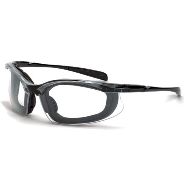 Crossfire Concept Crystal Black Foam Lined Anti-Fog Clear Lens Safety Glasses 844AF - Box of 12