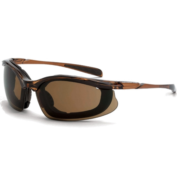 Crossfire Concept Black Half-Frame Anti-Fog HD Brown Lens Safety Glasses 867AF - Box of 12