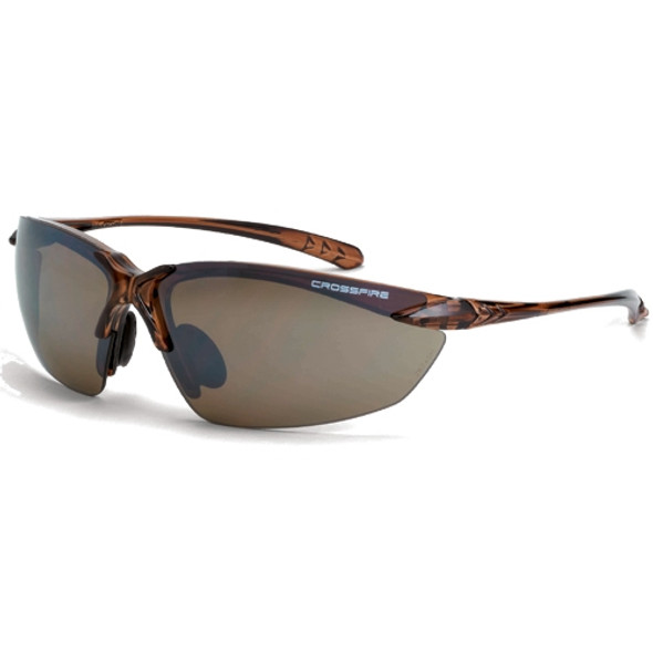 Crossfire Sniper Crystal Brown Half-Frame HD Brown Flash Mirror Lens Safety Glasses 9117 - Box of 12