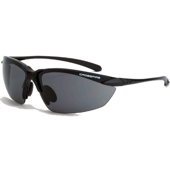 Crossfire Sniper Matte Black Half-Frame Smoke Lens Safety Glasses 921 - Box of 12