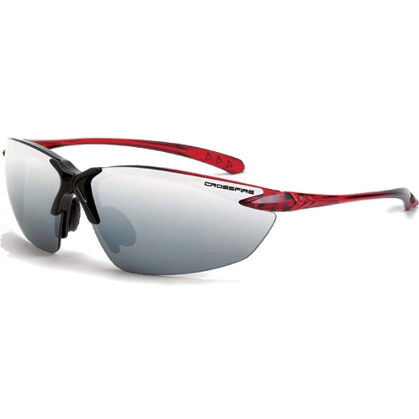 Crossfire Sniper Shiny Black Burgandy Half-Frame Silver Mirror Lens Safety Glasses 9233 - Box of 12