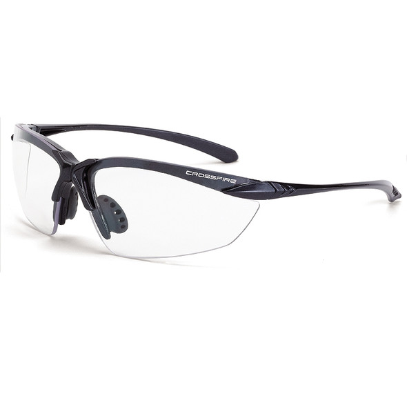 Crossfire Sniper Matte Black Half-Frame Clear Lens Safety Glasses 924 - Box of 12
