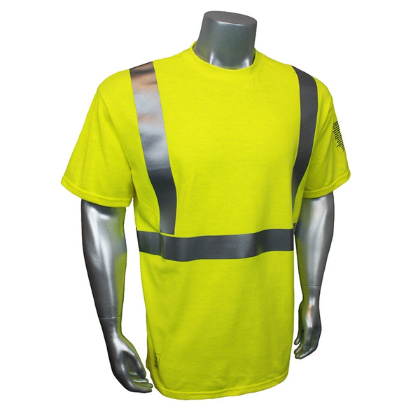 Radians FR Class 2 Hi Vis Green Short Sleeve Shirt LHV-FR-TS Front