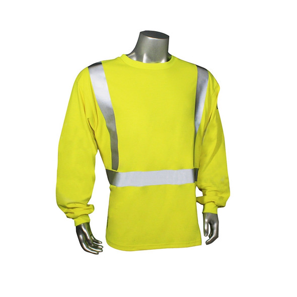 Radians FR Class 2 Hi Vis Green Long Sleeve Shirt LHV-FR-TS-LS Front