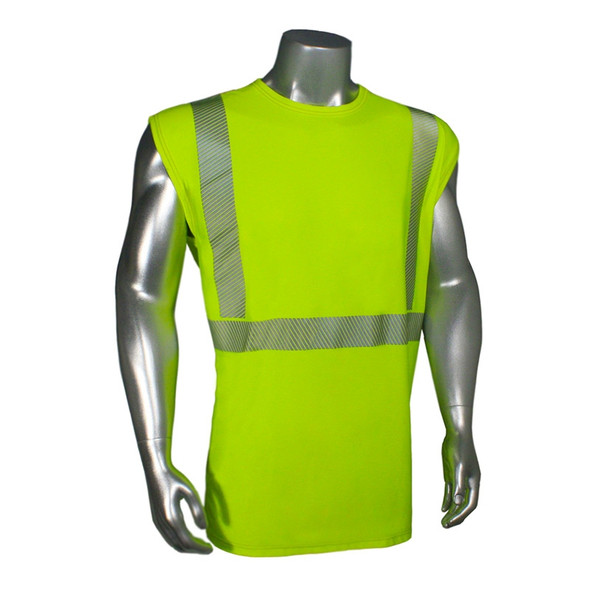 Radians Class 2 Hi Vis Green Moisture Wicking Sleeveless Made in USA T-Shirt LHV-UXTS-NSC2 Front