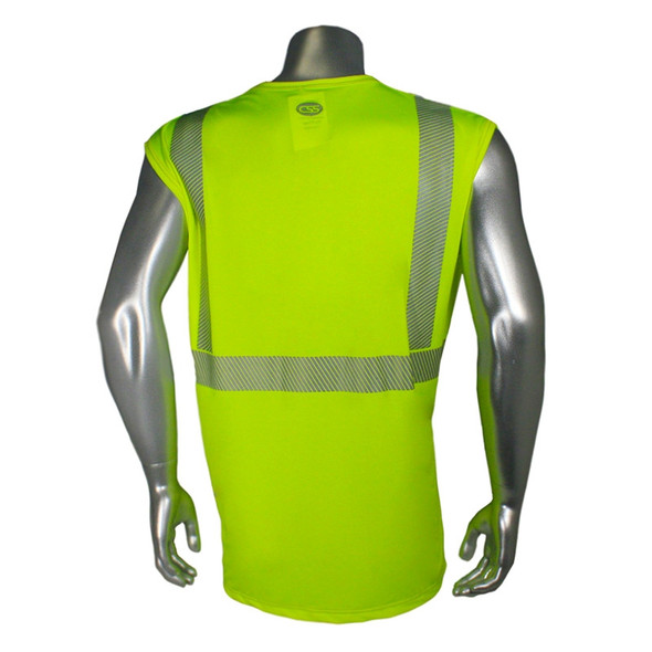 Radians Class 2 Hi Vis Green Moisture Wicking Sleeveless T-Shirt LHV-UXTS-NSC2 Back