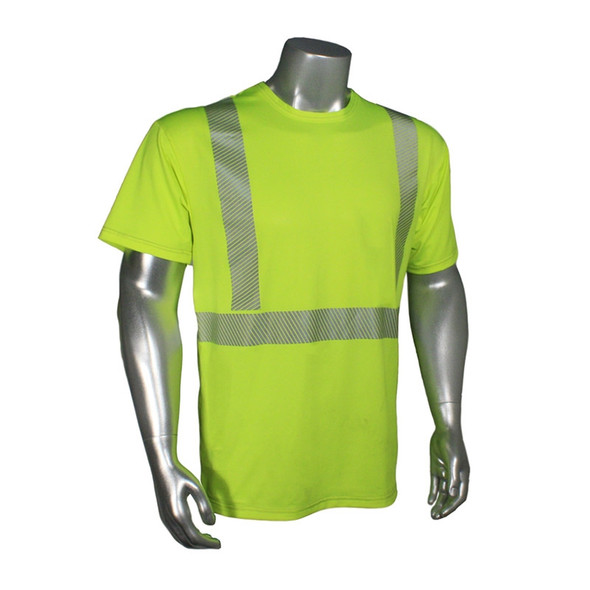 Radians Class 2 Hi Vis Green Moisture Wicking Made in USA T-Shirt LHV-UXTS-SSC2 Front