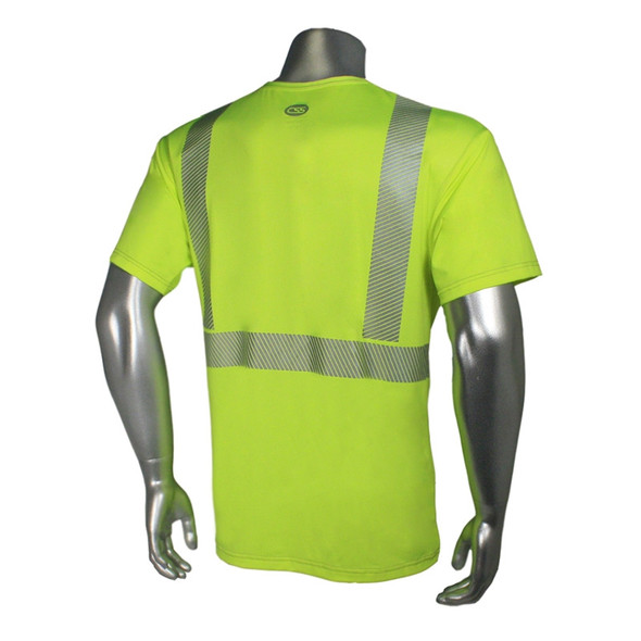 Radians Class 2 Hi Vis Green Moisture Wicking Made in USA T-Shirt LHV-UXTS-SSC2 Back