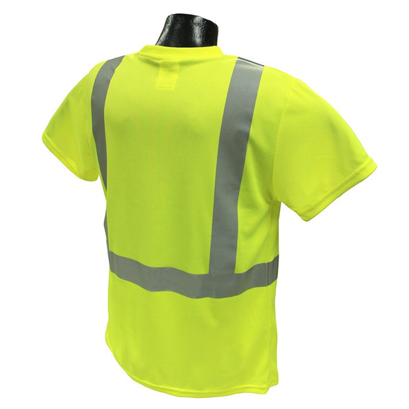 Radians Class 2 Hi Vis Lime Moisture Wicking Made in USA T-Shirt LHV-XTS-AR-P Back