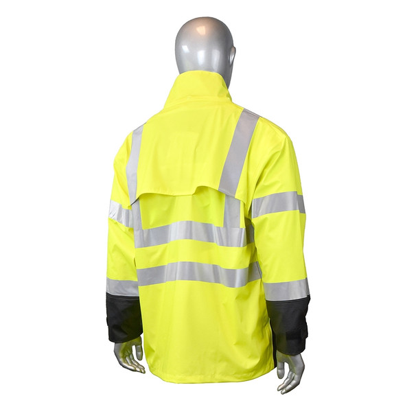 Radians Class 3 Hi Vis Green Black Bottom Rain Jacket RW07J-3ZGV Back