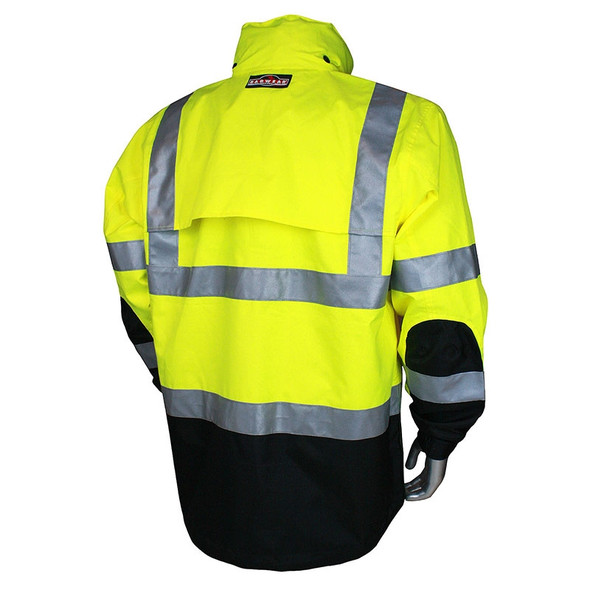 Radians Class 3 Hi Vis Green Black Bottom Rip Stop Rain Jacket RW32-3Z1Y Back