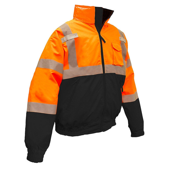 Radians Class 3 Hi Vis Orange Black Bottom 2-in-1 Bomber Jacket SJ110B-3ZOS Front
