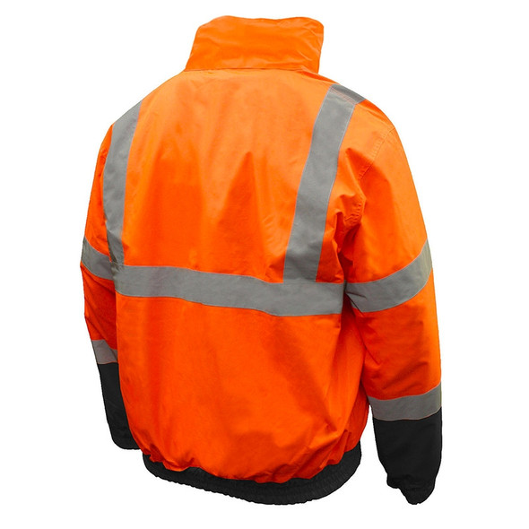 Radians Class 3 Hi Vis Orange Black Bottom 2-in-1 Bomber Jacket SJ110B-3ZOS Back
